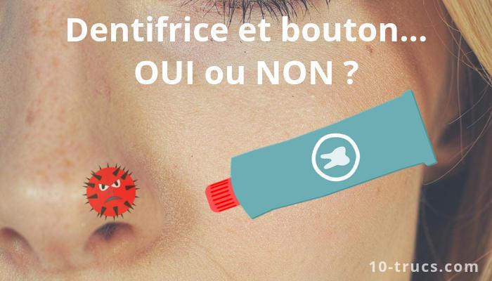 Mettre du dentifrice sur un bouton sur le nez