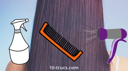 brosse, eau et sèche cheveux pour avoir les cheveux lisse