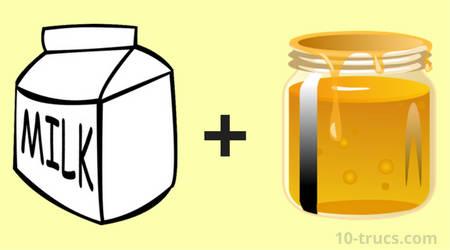 lait chaud et miel pour soigner le mal de gorge