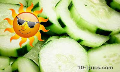 soulager un coup de soleil avec des tranches de concombre