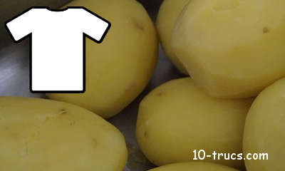 blanchir un vêtement avec pomme de terre cuite