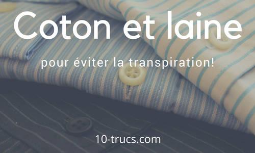 des vêtements de coton contre la transpiration des aisselles