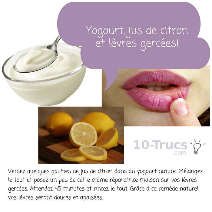 remède à base de yogourt et citron pour lèvres gercées