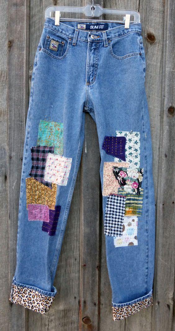 Coudre des patchs sur un jean