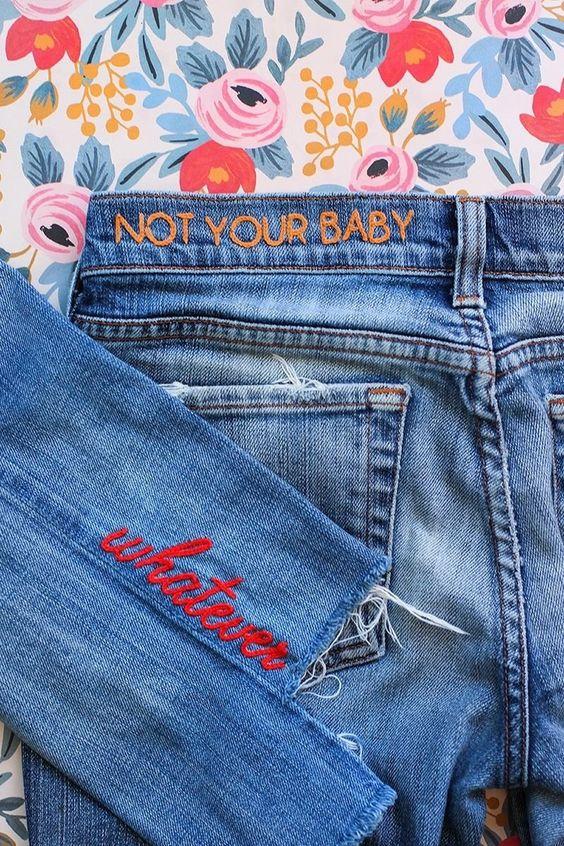 Idée de broderie sur un jean