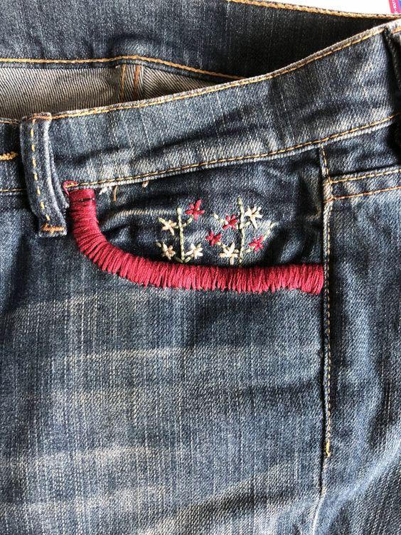Broder un motif sur la poche d'un jean