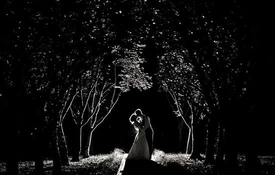 photo de mariage dans le noir, photo mariage de nuit,