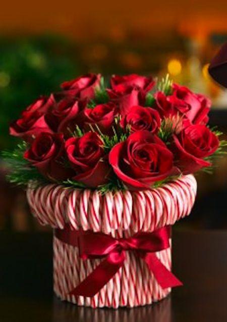 Bouquet de fleur avec des cannes de Noël