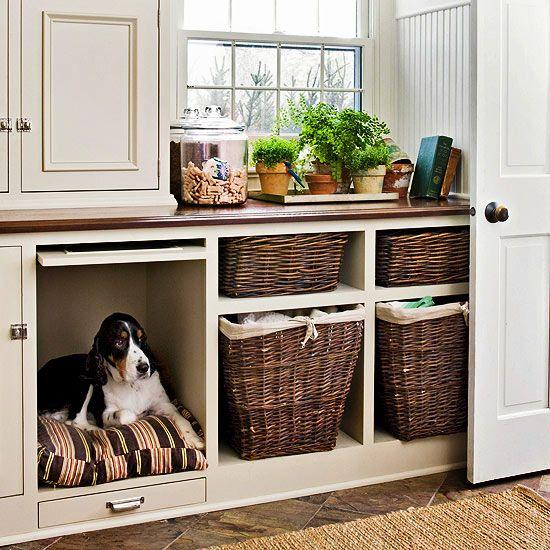 espace chien armoire de cuisine, coin chien armoire,