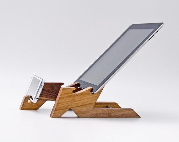 support en bois ipad, support en bois iphone,