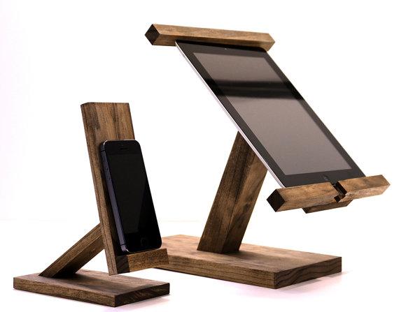 support ipad trépied, support en bois et trépied,