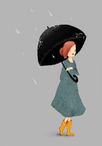 Fond d'écran d'une jeune femme sous la pluie