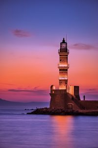 Fond d'écran d'un phare en Grèce