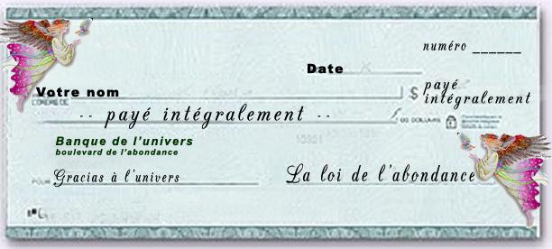 Exemple de chèque d'abondance