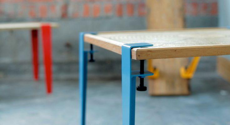 floyd legs blue, pattes de table bleus,