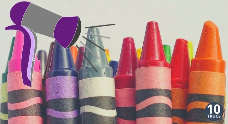 Idée bricolage avec crayon de cire fondu