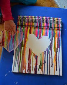 Idée bricolage avec crayon de cire et enfant