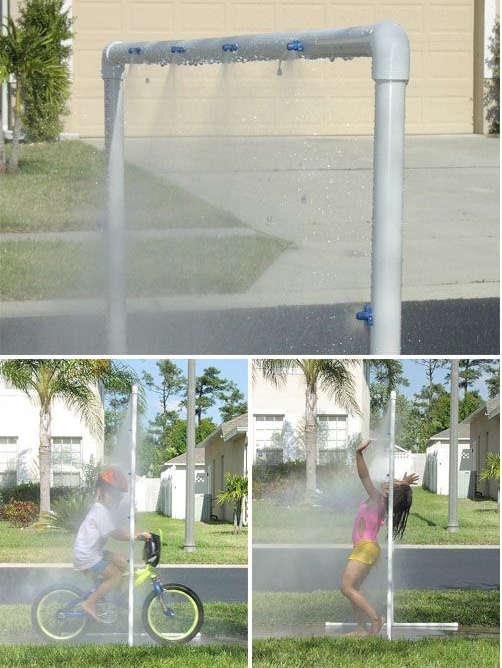 fabriquer un jeu d'eau, jeux d'eau tuyaux pvc,