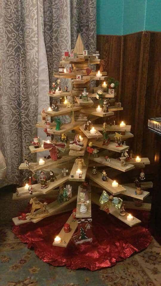 construire un sapin tout en bois pour Noël