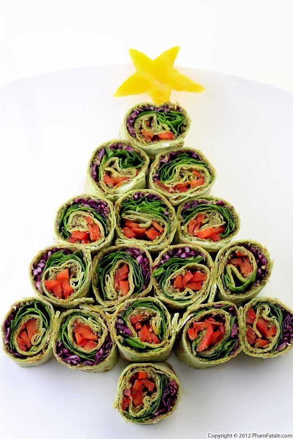 sushis en forme de sapin de Noël