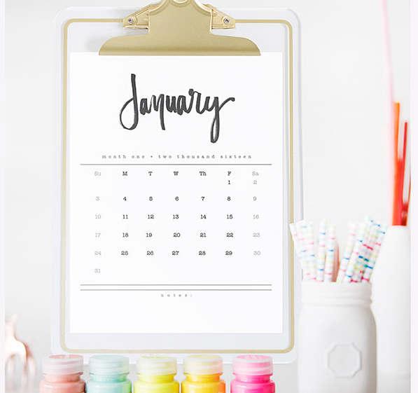 Calendrier mensuel pour l'année 2016 à imprimer