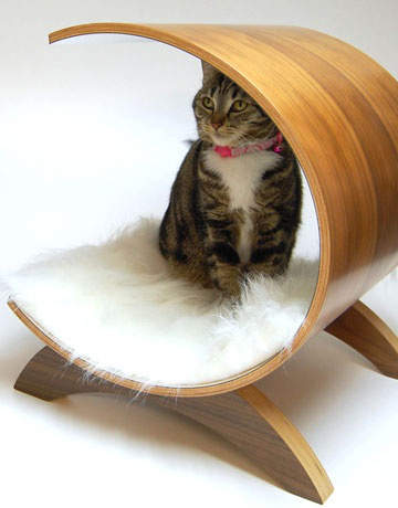 A modern bed in wood and fur