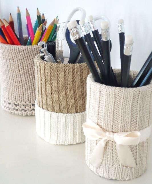 décorer des boites de conserve avec de la laine