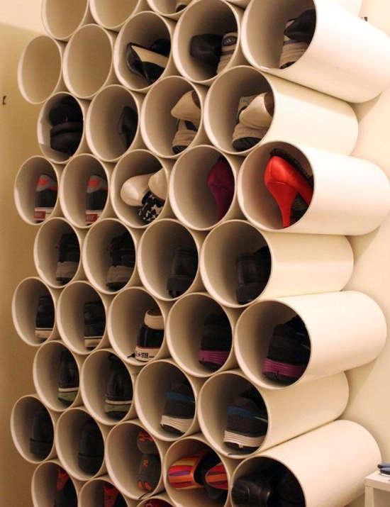 Rangement pour soulier avec tubes en PVC