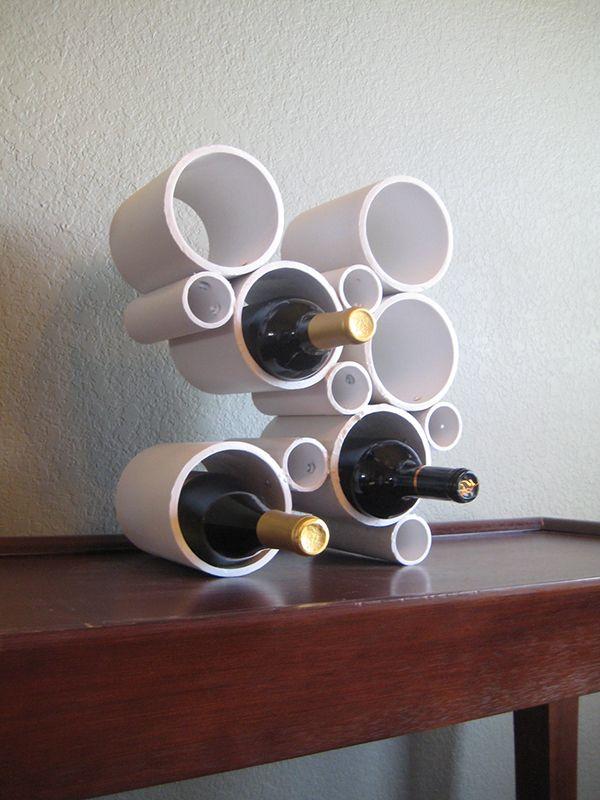 Support à vin avec des tuyaux de PVC