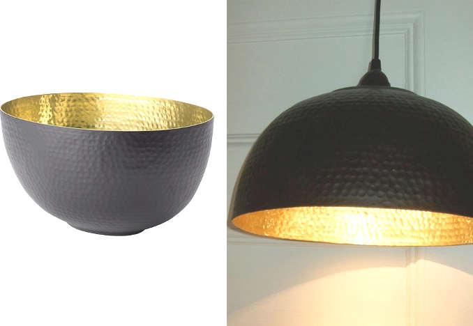Bol IKEA transformé en une jolie lampe design