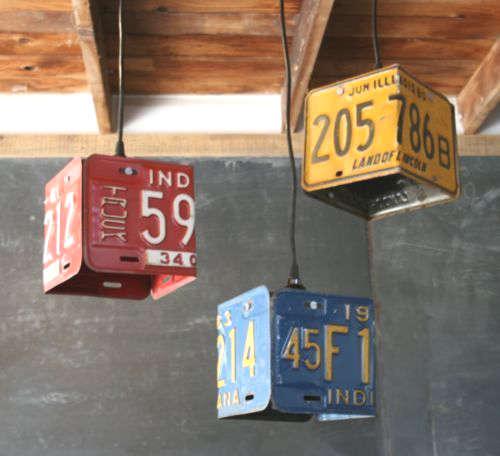 Lampe vintage à fabriquer avec une plaque d'immatriculation