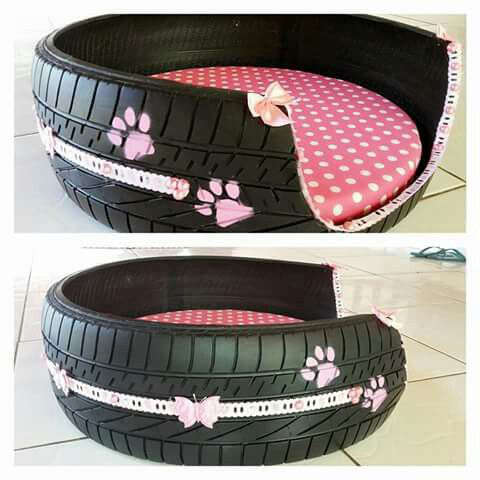 fabriquer un panier pour chien avec un pneu
