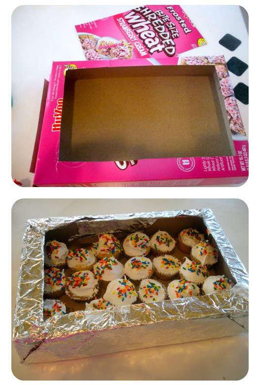 Présentoir à cupcakes avec boite de céréale