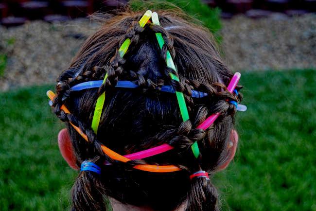 glow stick baton hairstyle