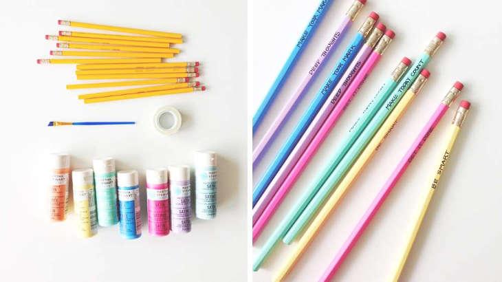 peinturer les crayons de plomb pour l'école