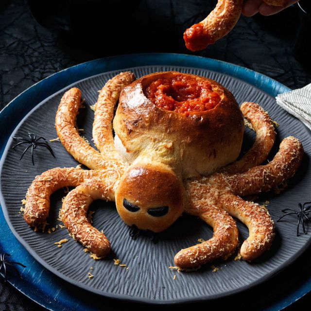 Recette de pain en forme d'araignée pour l'Halloween