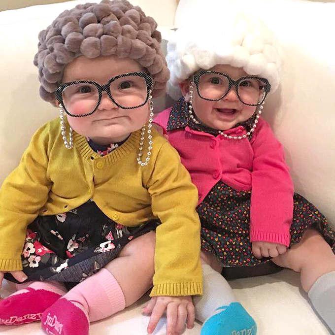 déguisement bébé en vieille dame