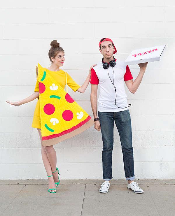 livreur et pointe de pizza, déguisement d'Halloween