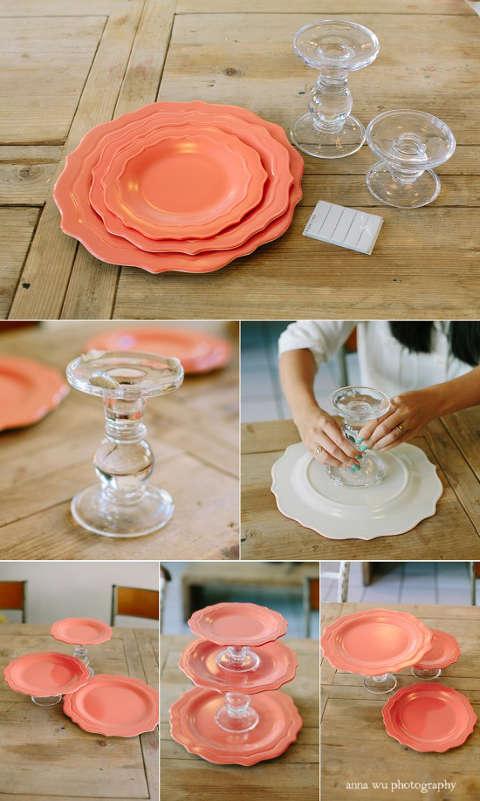 étapes et matériel pour créer un présentoir à étages pour les cupcakes