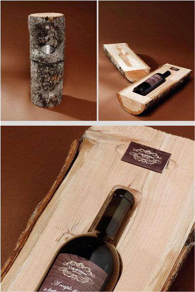 bouteille de vin dans une bûche wow