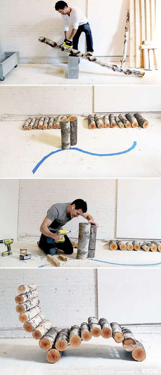 fabriquer une chaise longue avec des bûches