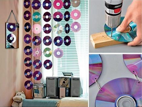 fabriquer un rideau avec de vieux CD