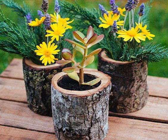 fabriquer des pots à fleur avec des bûches
