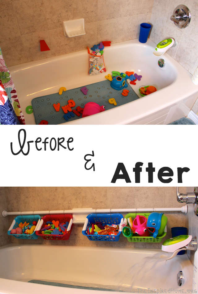 rangement et organisation des jouets pour le bain