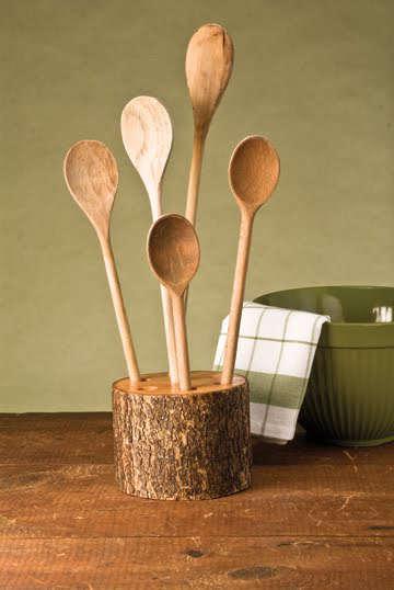 Support en bois pour les ustensiles de la cuisine