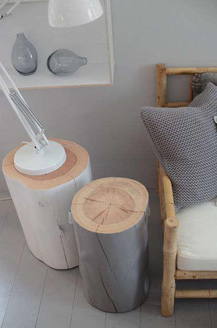 diy table d'appoint avec une bûche de bois