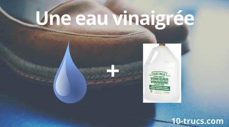 recette d'eau et vinaigre pour le nettoyage des chaussures en nubuck