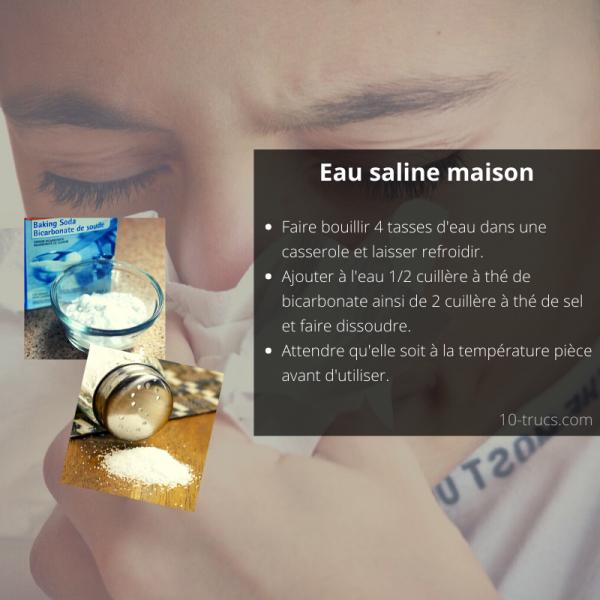 Recette d'eau saline pour déboucher le nez